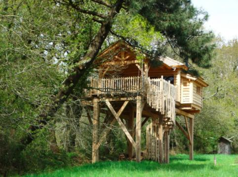 Cabane dans les arbres avec jacuzzi en Bretagne